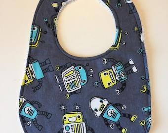 Robot Baby Bib - Robot Bib - Robot Drool Bib