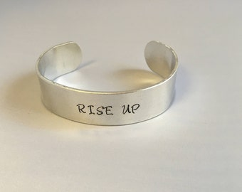 Rise Up Bracelet Hamilton Broadway - Rise Up Cuff Bracelet - Handstamped Rise Up Hamilton Hand Stamped Aluminum