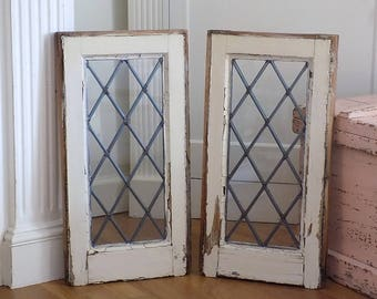 """23""""x12"""" Antique Victorian DIAMOND Lead Glass Windows ~ Hang Vertical or Horizontal ~ Vintage French Cottage Chic Architectural Salvage"""