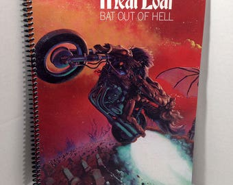 Meat Loaf Bat Out Of Hell Album Cover Notebook Handmade Spiral Journal