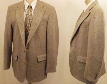 Vintage Jefferson Gray Herringbone Tweed Sport Coat Size 40