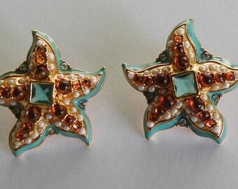 Kenneth Lane Starfish Earrings Pierced