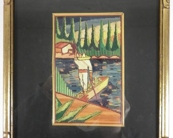 Vintage STRAW MOSAIC Mexican Campesino Boat Popote Framed Folk Art