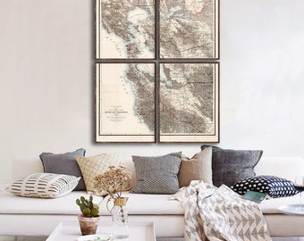 """Map of San Francisco 1873, Vintage San Francisco map reprint - 5 large/XL sizes up to 48x64"""" in 1 or 4 parts-in 3 three colors"""