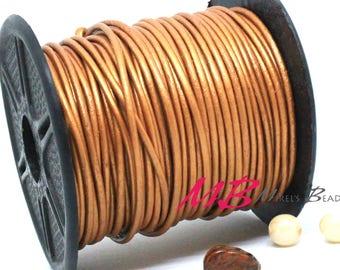 1mm Spool of Metallic Sun Indian Leather, 5 Yard Spool of Genuine Leather, 15 ft Round Leather for Jewelry Making