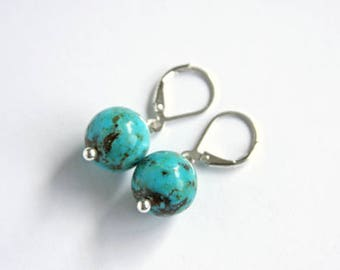 Genuine Turquoise Earrings Kingman Turquoise Beads Sterling Silver Leverback Simple Earrings Blue Modern Southwest Jewelry Round #17608