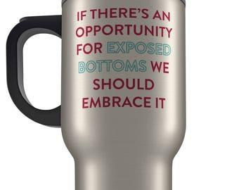 Great British Bake inspired novelty travel mug design. Exposed Bottoms. Personalised gift