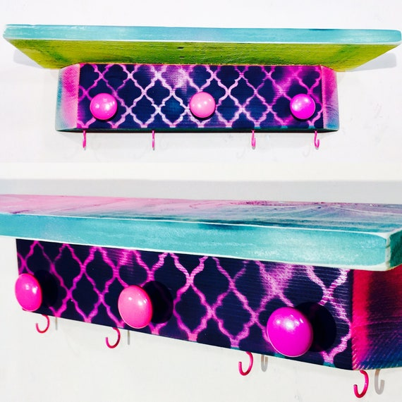 Girls bedroom wall hanging vanity /boho decor /custom nightstand /floating shelves wood furniture makeup organizer 3 knobs 4 hot pink hooks