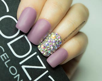 Chose Your Color-Muted Tones Short Nails with Accent Nails with Swarovski Crystals-Made With UV Gel-Press On Nails- Fake Nails - False Nails