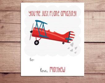 Plane Mini Notes - Plane Valentine's Day Cards - Plane Lunchbox Notes - Plane Flat Mini Notes - Children's Valentines - Teacher Valentines