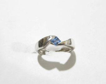 Beautiful Princess Cut Blue Topaz Sterling Silver Ring