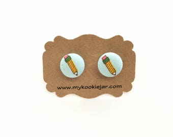 Pencil Earrings, Pencil Fabric Button Earrings, Pencil Studs, Back to School Earrings, Teacher Gift, Teacher Earrings, Nickel-free Earrings