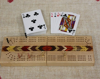 Folding Travel Cribbage Board With Inlays, Continuous Track, Three Track