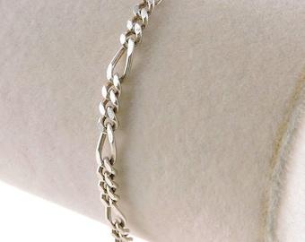 "Sterling Silver Figaro Bracelet 7 1/4"""