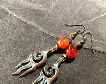 Handmade earrings and Carnelian 3 inches