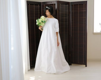 long sleeve wedding dress,simple wedding dress,modest wedding dress,white maxi dress,cotton wedding dress,cotton maxi dress