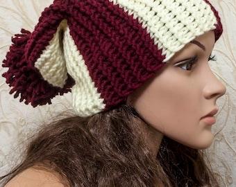 Womens Hat - Pom Pom Hat - Slouch Beanie - Slouchy Hat - Beige Red Womens Hat - Winter Hat - Knit Accessories