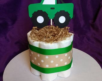 Mini Diaper Cake - Diaper Truck Cake - Baby Boy Shower - Centerpiece - Green and Beige - Expecting Mother - Shower Decoration - Baby Gift
