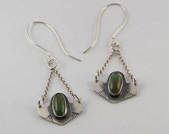 Turquoise Earrings, Dangle earrings, sterling silver, natural Turquoise, Drop earrings, handmade, geometric earrings, elegant turquoise