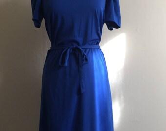 Vintage Sailor Dress | 1970s Blue Midi Dress | Plus Size XL Volup