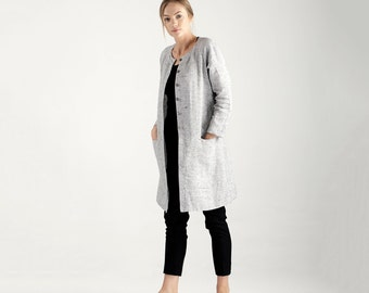 Long Linen Cardigan / Long Linen Jacket With Buttons / Gray Cardigan / Gray Linen Cardigan / Custom Linen Clothing / Long Linen Top