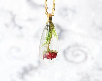 red rose necklace red jewelry moss necklace wife birthday gift of love terrarium necklace gift/for/mom romantic necklace/for/women Рю131
