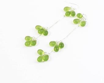 green earrings silver jewelry cluster earrings dangle jewelry/for/wife green jewelry elegant earrings long earrings summer jewelry пя142