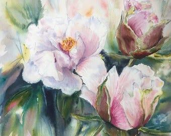 Original watercolor peonies, peonies painting, original watercolor painting, watercolor art, wall art, home decor
