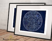 Northern and Southern Hemispheres Constellation Map Print Set - Astronomy Gift - Astrology Art - Zodiac Sign - Star chart - Night Sky Prints