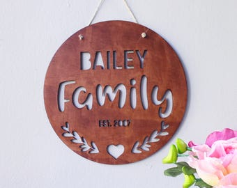Family Name Sign - Home Sign - Laser Cut Wood Name - Wood Family Established Signs - Home Decor - Wooden Name Sign - Housewarming gift