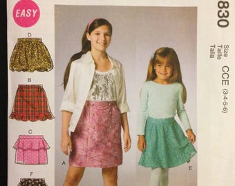 McCalls M6830 - Girl's Skirts with Ruffle and Bubble Hem Options - Size 3 4 5 6