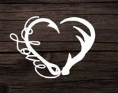 Hook and Antler Decal, Hunting Fishing Decal, Antler Decal, Hook Decal, Hunting Sticker, Fishing Sticker, Decals for Women, Love Decal