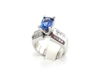 14k White Gold Diamond And Tanzanite Engagement Ring  - White Gold Diamond And Tanzanite Ring Size 6 3/4