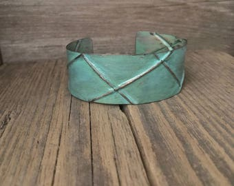 Handmade turquoise cuff, folded layers, textured copper bracelet