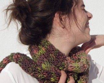 Multicolored art yarn knitted thin écharpe, all seasons accessory for woman or teen, rain forest shades, the perfect  back to school gift