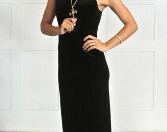 90s vintage dress, black velvet, black dress, velvet dress, long black dress, 90s velvet, little black dress, maxi dress, midi dress