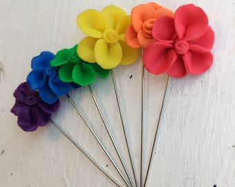 Rainbow Flower Hijab Pins. Set of 6 Scarf Pins. Long Straight Pins. Polymer Clay Accessory. Eid Gift Ramadan Gift. Jewelry under 20