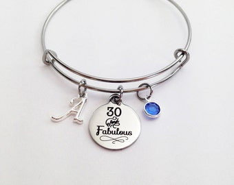 30th Birthday, 30th Birthday Party, 30th Birthday Gifts for Her, Adjustable Bracelet, 30th Birthday for Her, 30 and Fabulous, Thirty
