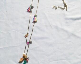 Rainbow tassel chain necklace