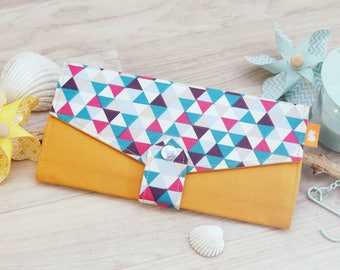 Multicolour Triangle clutch wallet, Handmade long Wallet, Passport travel wallet, Womens credit card wallet, Yellow triangle fabric wallet