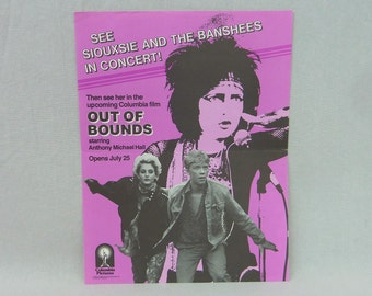 Siouxsie and the Banshees original flyer - Vintage 1980s Flyer - Out of Bounds movie ad 1986