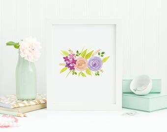 Loose floral watercolor, Loose watercolor flowers, watercolor leaves, watercolor roses