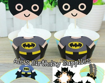 24 Pc Batman Kids Cupcake 12 Wrappers & 12 Toppers PARTY BIRTHDAY SUPPLIES