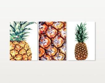 Pineapple Print Set, Gold Pineapple Print, Printable Pineapple Art Large, Pineapple Wall Art, Pineapple Wall Decor, Pineapple Kitchen Decor