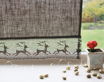 Curtains Window linen panels Privacy Grey linen Deer animal curtains Natural linen Country French style Rustic Kitchen cafe curtain