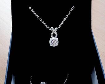 Diamond necklace one cubic zirconia necklace charm cz star necklace crystal pendant delicate bridal necklace simple everyday necklace jm