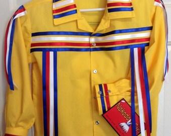 Native American Regalia *Nakoda Made* Kids Pow Wow CONTEST Ribbon Shirt© Size 4