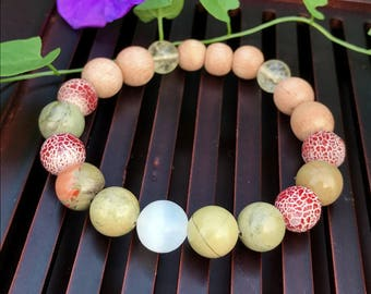 White Selenite/Citrine/Green Silver Leaf Jasper/Red Crackle Agate/Sandalwood Yoga Mala Beaded Bracelet. Healing Natural Gemstone Bracelet.
