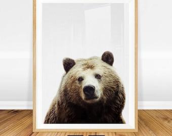 Woodland Animals Nursery Art, Bear Print, Brown Bear Wall Art, Animal Poster, Animal Nursery Decor, Rustic Printable Poster, Animal Prints