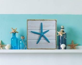 Starfish beach decor, beach wall art, coastal decor, coastal wall art.